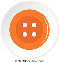Orange sewing button icon circle