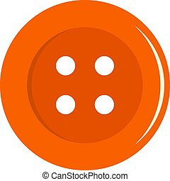 Orange sewing button icon isolated