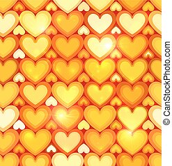 Orange shining hearts vector seamless pattern