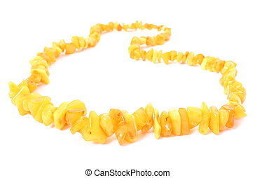 Orange, shiny amber necklace for the woman on white background