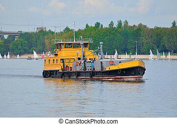Orange ship in Volga river, Yaroslavl, Russia