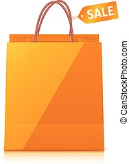 Orange shopping bag isolated on white background