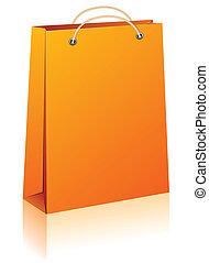 Orange shopping bag.