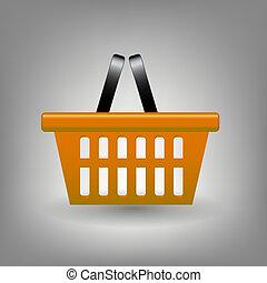 Orange shopping basket icon vector illustration