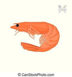 Orange shrimp on a white background. Seafood. Isolated image of prawn