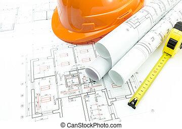 orange, sicherheitshelm, und, projekt, zeichnungen