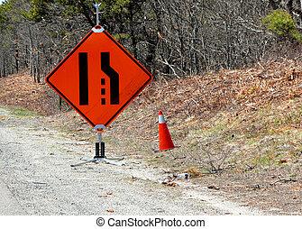 one lane - orange sign on highway one lane
