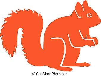 orange, silhouette, écureuil