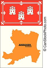 orange silhouette map of Aberdeen with flag