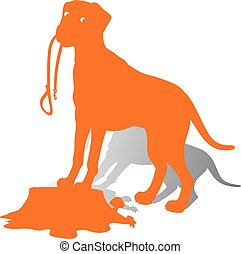 Orange Silhouette of a Dog (Dalmatian) holds a leash, on a white background.