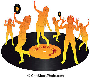 orange silhouettes dancing on vinyl on a white background