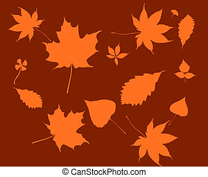 Orange silhouettes of leaves
