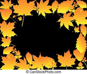 Orange silhouettes of leaves