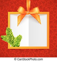 Orange silky ribbon frame with bow at red doodle Christmas pattern background