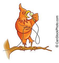 Orange singing canary bird vector