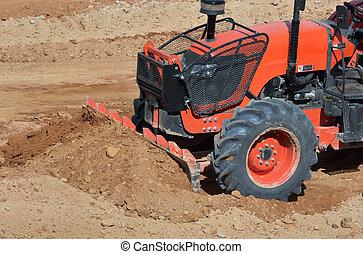 orange, site construction, tracteur