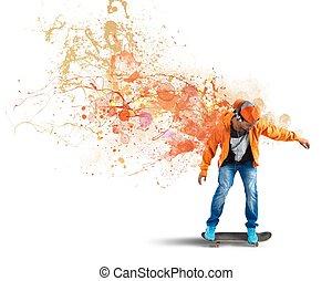 Orange skater - Boy with skate leaves a coloured trail