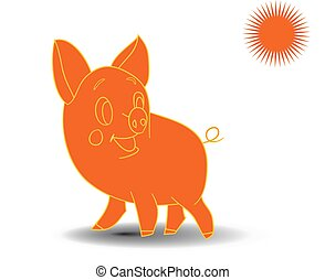 Orange sketch of a piglet, cartoon on a white...
