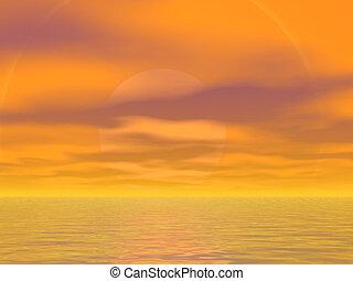 Orange Skies - Brilliant orange sky and sea
