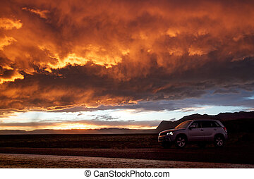 Orange sky and 4x4