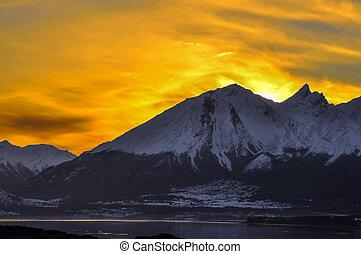 Orange Sky in Tierra del Fuego - An orange sky at sunset ...