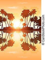 Orange sky palms silhouettes with reflection