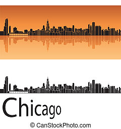 orange, skyline, chicag, hintergrund