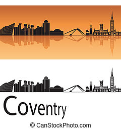 orange, skyline, coventry, hintergrund