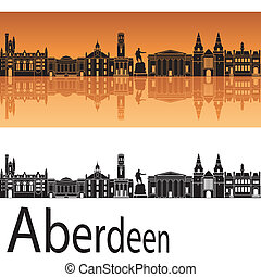 orange, skyline, hintergrund, aberdeen