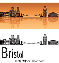 orange, skyline, hintergrund, bristol