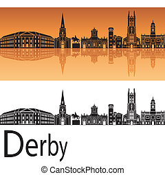 orange, skyline, hintergrund, derby