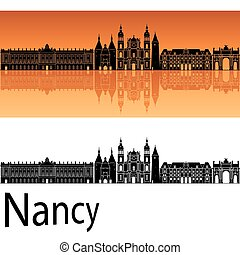 orange, skyline, hintergrund, nancy