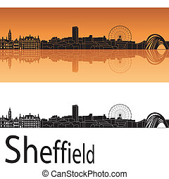 orange, skyline, hintergrund, sheffield