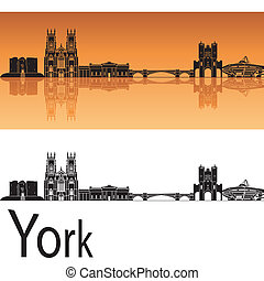 orange, skyline, hintergrund, york