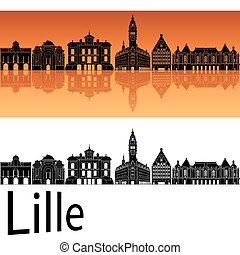 orange, skyline, lille, hintergrund