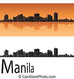 orange, skyline, manila, hintergrund
