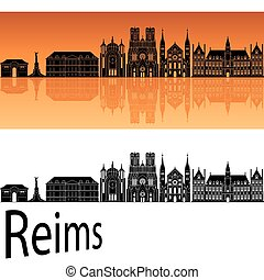 orange, skyline, reims, hintergrund