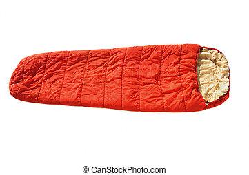 Orange Sleeping Bag isolated on a white background