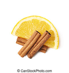 Orange slice and cinnamon isolated