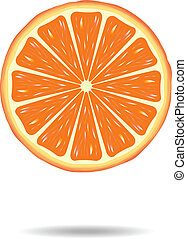 Orange slice - Bright single orange slice on white...