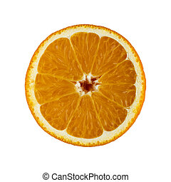 Orange Slice - Detail of an orange sliced in half isolated...