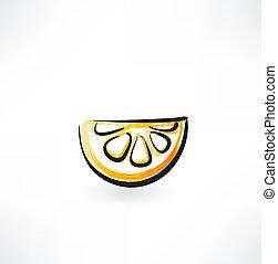 orange slice grunge icon
