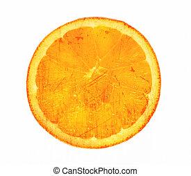 Orange slice grunge white background