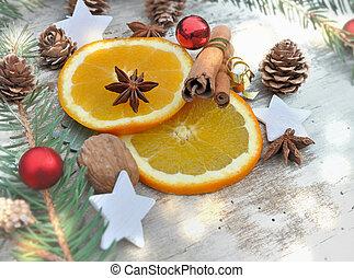 orange slice in Christmas decoration