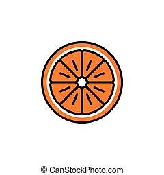 Orange slice vector icon in minimalist style for Christmas. Cute bright orange fruit slice isolated on white background
