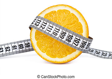 Orange slice with measurement