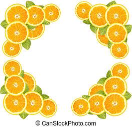 Orange sliced and leaves border