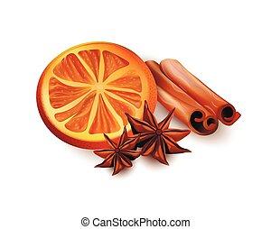 Orange Slices, Cinnamon Sticks and Star Anice
