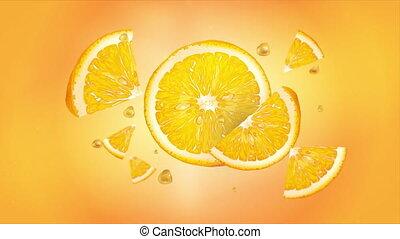 Orange slices in flight in slow motion. - An orange slices ...