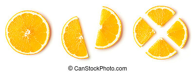 Orange slices isolated on white, from above